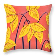Abstract Flowers Geometric Art In Vibrant Coral And Yellow  Throw Pillow