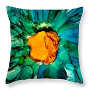 Abstract Gerbera Ink Flower Throw Pillow
