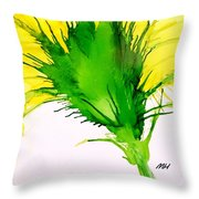 Abstract Ink Yellow Flower Throw Pillow