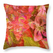 Abstract Pink Lilies Throw Pillow