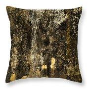Abstract Scary Ocher Plaster Throw Pillow