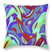 Abstract Waves Painting 0010102 Throw Pillow