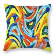 Abstract Waves Painting 007176 Throw Pillow