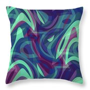 Abstract Waves Painting 007219 Throw Pillow