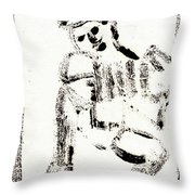 Accordion After Mikhail Larionov Black Ink Painting 1 Throw Pillow