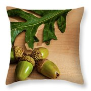 Acorns From The Salem Oak Tree Throw Pillow by Louis Dallara
