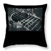 Acoustic Guitar Musician Player Metal Rock Music Black Throw Pillow