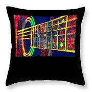 Acoustic Guitar Musician Player Metal Rock Music Color Throw Pillow