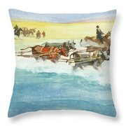 Action From A Ten Thousand Mile Motor Race Throw Pillow
