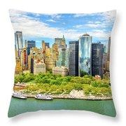 Aerial Panorama Of Downtown New York Skyline Throw Pillow