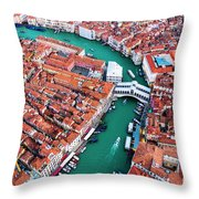 Aerial View Of Grand Canal And Rialto Bridge, Venice, Italy Throw Pillow