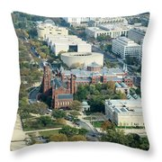 Aerial View Of Museums On The South Side Of The National Mall In Throw Pillow