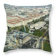 Aerial View Of The Smithsonian National Museum Of African Americ Throw Pillow