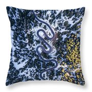 Aerial View Of Winding Mountain Road Through Forest Throw Pillow