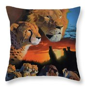 African Cats Throw Pillow