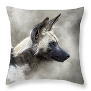 African Wild Dog In The Dust Throw Pillow