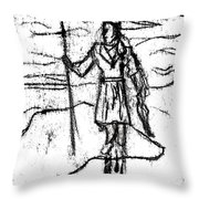 After Billy Childish Black Oil Drawing B2-7 Throw Pillow