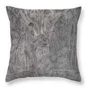 After Billy Childish Pencil Drawing 1 Throw Pillow