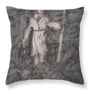 After Billy Childish Pencil Drawing 14 Throw Pillow