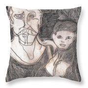 After Billy Childish Pencil Drawing 19 Throw Pillow