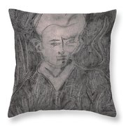 After Billy Childish Pencil Drawing 2 Throw Pillow