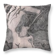 After Billy Childish Pencil Drawing 20 Throw Pillow