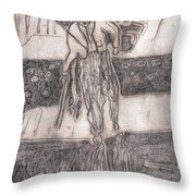 After Billy Childish Pencil Drawing 24 Throw Pillow