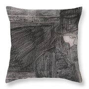After Billy Childish Pencil Drawing 32 Throw Pillow