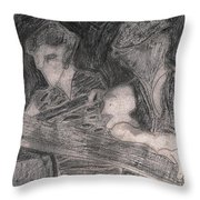 After Billy Childish Pencil Drawing 33 Throw Pillow