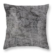 After Billy Childish Pencil Drawing 5 Throw Pillow