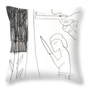 After Mikhail Larionov Pencil Drawing 10 Throw Pillow