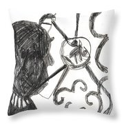After Mikhail Larionov Pencil Drawing 13 Throw Pillow