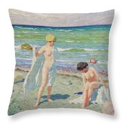 After The Swim  Oil On Canvas Throw Pillow