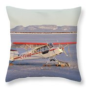 Airplane In The Harbour Throw Pillow