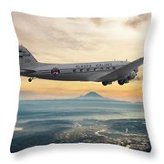 Alaska Airlines Dc-3 Over Seattle Throw Pillow
