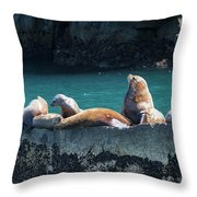 Alaska Steller Sea Lions Throw Pillow