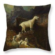 Albert_bierstadt_-_rocky_mountain_goats Throw Pillow