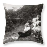 Alexander Keighley - Children On A Picnic, Ca 1890 Throw Pillow