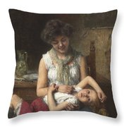 Alexei Harlamoff,  Portraif Of Sisters Throw Pillow
