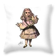 Alice And The Pig Throw Pillow
