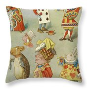 Alice In Wonderland Characters Throw Pillow
