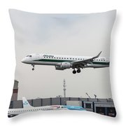 Alitalia Embraer 190 Bird Near Miss Throw Pillow