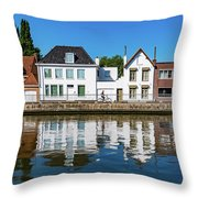 Along The Canal. Flanderenfietsroute.   Throw Pillow