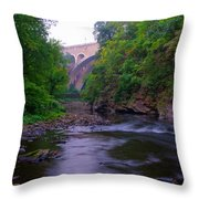 Along The Wissahickon At The Henry Avenue Bridge Throw Pillow