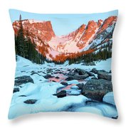 Alpenglow At Dream Lake Rocky Mountain National Park Throw Pillow