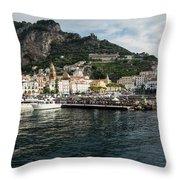 Amalfi Town Seen From Ferry Approaching Throw Pillow