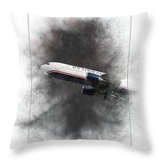 American Airlines Boeing 767-200 Painting Throw Pillow