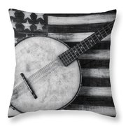 American Banjo Black And White Throw Pillow