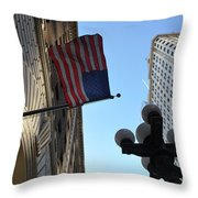 American Flag Downtown La Throw Pillow