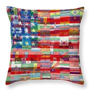 American Flags Of The World Throw Pillow